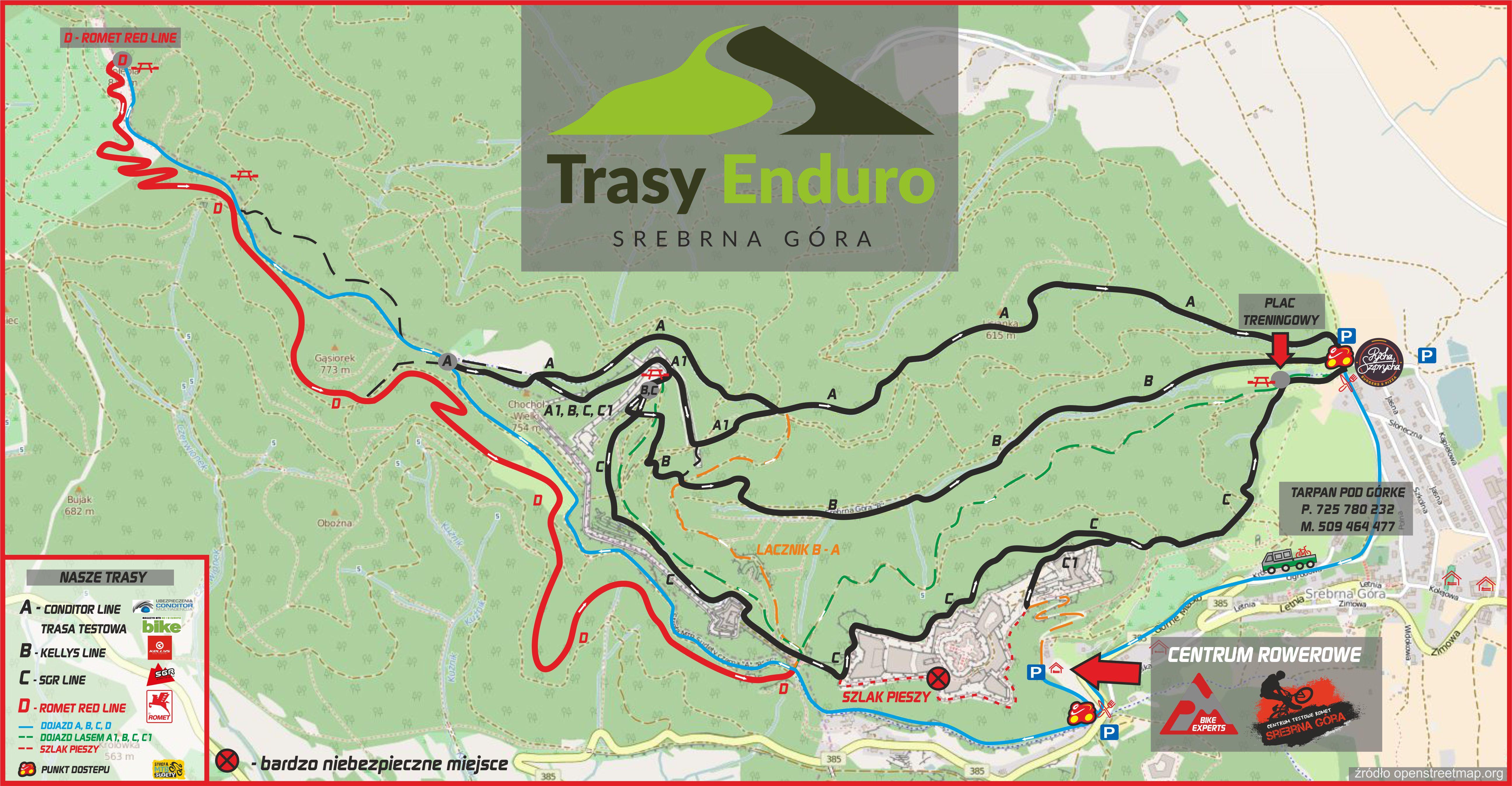 Trasy Enduro Srebrna Góra mapa